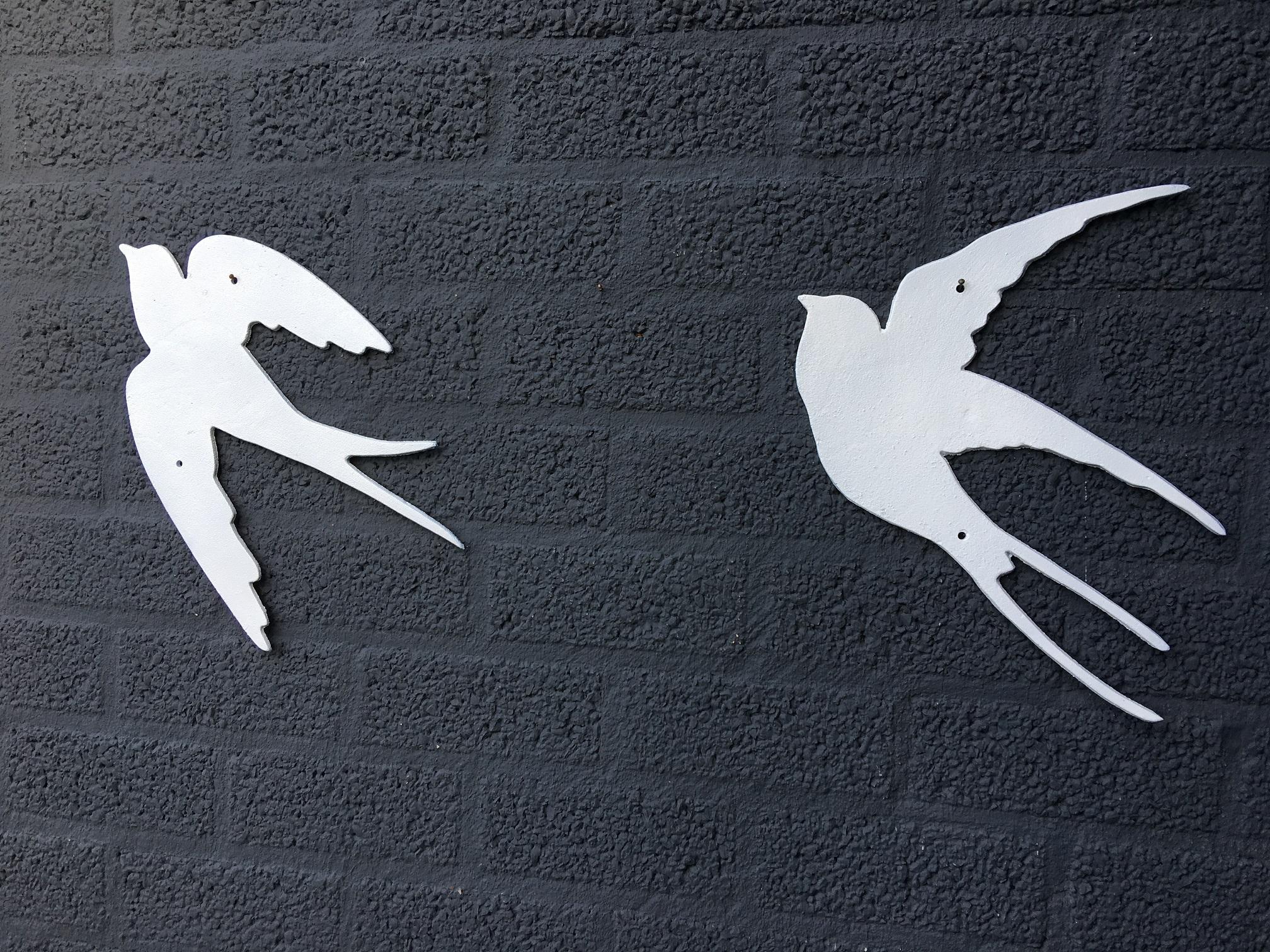 Tags slik decoratie met zwaluwen vogel decoratie metalen